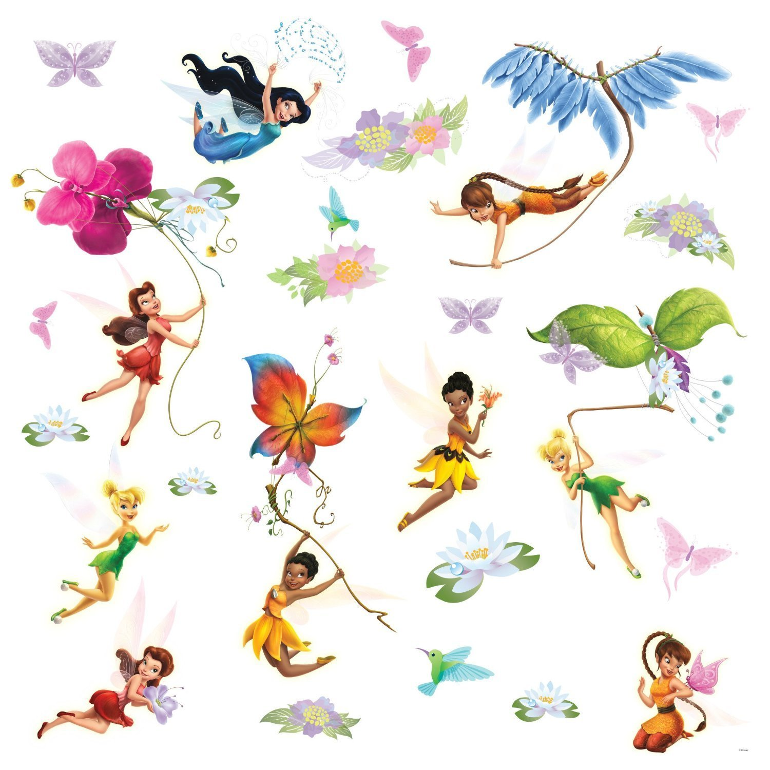 Disney fairies wall decals with glitter wings amipublicfo Gallery